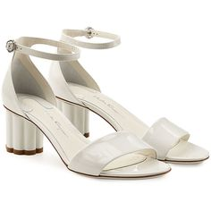 Salvatore Ferragamo Eraclea Patent Leather Sandals (3066815 PYG) ❤ liked on Polyvore featuring shoes, sandals, white, white sandals, structure shoes, ankle wrap sandals, salvatore ferragamo shoes and white shoes