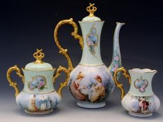 C1914 Wm Guérin & Co Limoges Porcelain 3 Piece Tea Set by Mamie Williams McLeod Please note this previously sold in February and is being relisted due to the high bidder could not complete the sale.