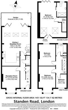 4 bedroom terraced house for sale in Standen Road, London, - Rightmove. Kitchen Extension Floor Plan, 1930s House Extension, House Extension Plans, House Extension Design, Kitchen Floor Plans, Extension Ideas, Rear Extension, Victorian Terrace House, Victorian House Plans