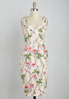 Once in an Isle Dress. Its not every day you come across a dress that emulates both elegance and festive vivacity, but this ivory sheath is it. #multi #modcloth