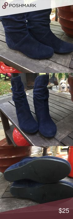 Navy suede scrunched booties Navy suede scrunched booties. Super comfy and great blue color. Steve Madden Shoes