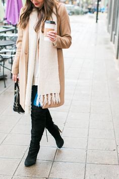 Camel Coat and Over the Knee Boots via Love Lola
