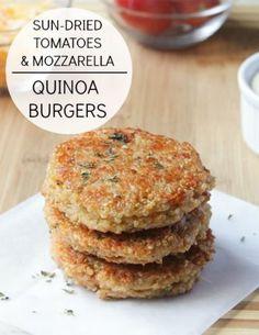 Sundried Tomato and Mozzarella Quinoa Burgers. You're gonna love this recipe!