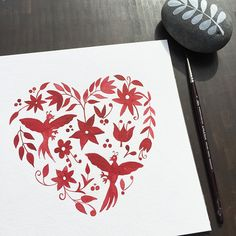 "This is an archival quality print of my original watercolor painting ""Otomi Heart"". The inspiration for this painting came from the Otomi textiles. The print is 8 x 8 inches (20 x 20 cm), printed on 300g acid free cold press paper using an Epson R3000 printer. All prints are signed and dated with pencil on the front. Please note that colors may vary slightly due to monitor settings.  All prints and original artwork will be shipped flat in a cello sleeve inside a stay flat envelope with a DO…"