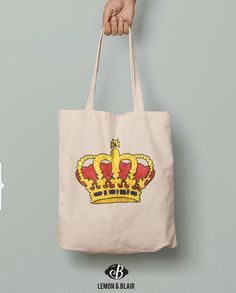 Eco frendly cotton bag for royals. Ggreat bright image  Cotton Tote Bags, Reusable Tote Bags, Crown Royal, Etsy Shop, Trending Outfits, Unique Jewelry, Handmade Gifts, Royals, Bright