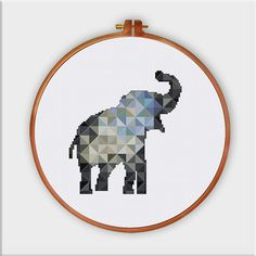 Geometric Elephant cross stitch pattern decor cross par ThuHaDesign
