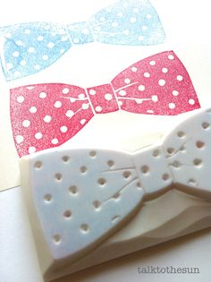 bow tie rubber stamp. hand carved rubber stamp. bow tie. ribbon. for wedding / birthday. polka dot.  no2