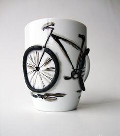 Bike Coffee Mug Hand Painted Coffee Mug With by doodleNart on Etsy