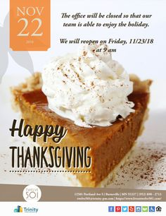 Please note that our office will close at today and reopen at on Friday. Happy Thanksgiving from your Arrive North Bend Team! Thanksgiving Celebration, Happy Thanksgiving, North Bend Washington, Thankful For Us, Have A Happy Holiday, Grab And Go Breakfast, Turkey Sandwiches, Roasted Turkey, Side Dishes