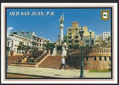 Postcard: showing the monument to Christopher Columbus in the historic Plaza Colón (Plaza Columbus) in San Juan, Puerto Rico.