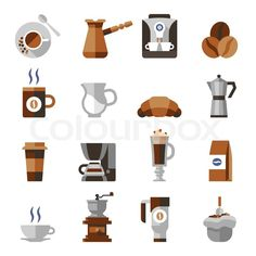 Stock vector of 'Coffee icons flat set with french press machine pouch grinder isolated vector illustration'