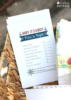 Nautical Baby Shower Printables. I really like The Price Is Right game idea in this, but the whole thing seems nifty.