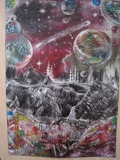 Encaustic art,using beeswax and iron and stylus,size A5,img 1088.By Peter Chattaway,2013.Title-Planets 2.