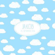 Geburtskarte Wolken by Marianne Fournigault für Rosemood.de #babykarte #himmel #junge #mädchen