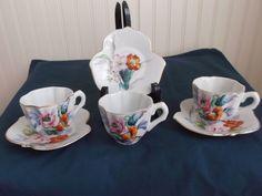 Porcelain Demitasse Cup Saucer Set Handpainted Japan Wales China Flowers