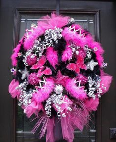 Ribbon Topiary for Zebra Hot Pink Black Party Shower Centerpiece
