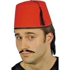 a60d151e CoOl 😎 Adult Red Fez Tarboosh Hat Moroccan Turkish Fancy Dress Up Costume  Accessories