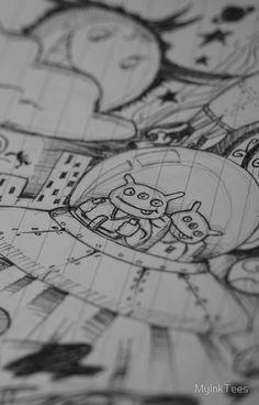 Alien and bear sketch