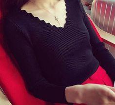 4color ギザギザVネックがアクセントに☆スマートな長袖ニット♪(27707210):BUYMA (バイマ)
