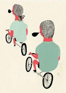 www.cintarribas.es Alba Editorial, Juan Palomino, Cisneros, Bike Art, Folk, Bicycle, Illustrations, Decor, Fine Art