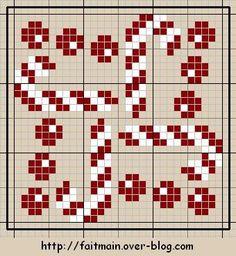Candy cane Biscornu pattern