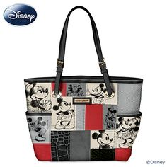 "Disney ""Patches Of Love"" Mickey And Minnie Artistic Tote Bag Disney Patches Of Love Handbag  Designer-style handbag boasts officially licensed Disney artwork of Mickey and Minnie, faux leather panels, double handles, exterior/interior pockets.  Measures 16"" W x 11"" H; drop measures 9""  Price:     $119"