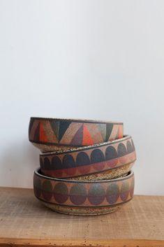 Kat & Roger Ceramic Serving Bowl in Black Half Circle Oroboro Store Brooklyn, New York Pottery Bowls, Ceramic Pottery, Pottery Art, Slab Pottery, Thrown Pottery, Pottery Studio, Pottery Wheel, Ceramic Clay, Ceramic Plates