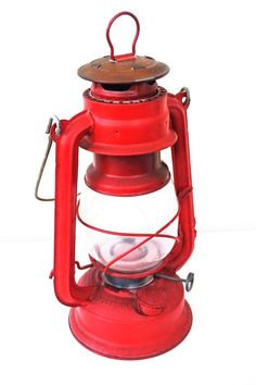 Vintage Barn Red Railroad Style Kerosene Lantern for camping - Rustic Industrial Farmhouse lighting decor - Housewarming Hostess Gift by DauphinTimeCapsule on Etsy https://www.etsy.com/listing/386828744/vintage-barn-red-railroad-style-kerosene
