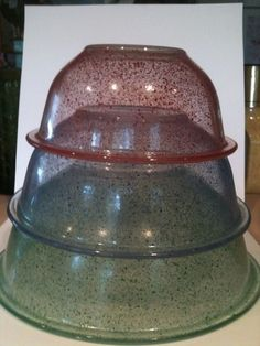 Vintage Pyrex Splatterware Mixing Bowls. My parents both grew up with the primary set, and this is what I grew up with. We still have them!