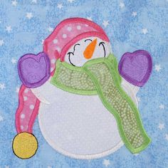 """snowman setting down  quilt applique pattern 