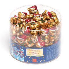 Ours de Noël avec chapeau de père Noël en chocolat, à glisser dans les chaussettes et les pochettes-surprises des enfants pour les fêtes de…