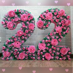 Discover thousands of images about Pink Paper Flower Wall x Extra Large Paper Flowers by PoshStudios Giant Flowers, Diy Flowers, Flower Decorations, Tissue Paper Flowers, Paper Flower Backdrop, 21st Birthday Decorations, Diy And Crafts, Paper Crafts, Floral Letters