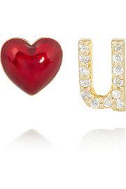 Alison LouLove U 14-karat gold, diamond and enamel earrings - Wear your love in your ear
