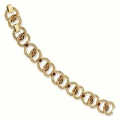 Gold-plated Swar Crystal Red 7.25In with 1In ext Link Circles Bracelet - Jacqueline Kennedy Jewelry Goldenmine. $160.00