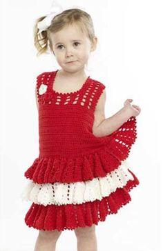 Ganchillo vestido del volante del patrón libre - Crochet Patrones de chicas de vestir gratis