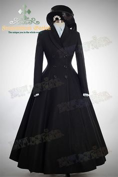 fanplusfriend:    Elegant Gothic Aristocrat Wide Skirt Bottom Slim Waist Long Thick Wool Coat