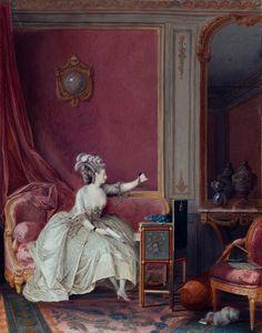 """""""La Consolation de l'Absence"""" gouache sur vélin de Nicolas Lavreince (circa 1785) à l'exposition """"Lumières : Carte Blanche à Christian Lacroix"""" au Musée Cognacq-Jay, Paris, décembre 2014."""