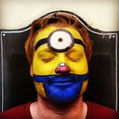Minions face paint Adult Face Painting, Painting For Kids, Minion Face Paint, Grey Makeup, Minions, Carnival, Artist, Ideas, Kids Coloring