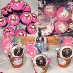 #cupcakes #edibleimages #chocolate #five #chocolatedippedkrispietreats #chocolatecoveredoreos #hellokitty #pink #partyfavors #birthdaycelebration #bombom