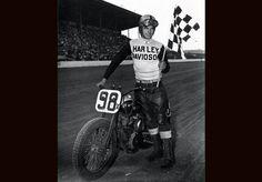 Dirt track racer Joe Leonard wins the AMA Grand National Championship. Over the next eight years, the Grand National Championship will be won by Harley-Davidson racers.  | Harley-Davidson 1954