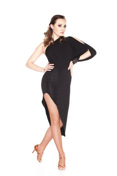 Add a little bit of attitude to your dance wardrobe with this sexy latin dance dress. From the gorgeous lace details to the dramatic hemline, this dress is a total knock-out. Model is wearing size XS/