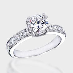 1.0 Ct. Round Fancy CZ Solitaire Engagement Ring