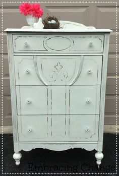 Gorgeous Dresser in Miss Mustard Seed's Milk Paint in Farmhouse White - Embracing Change