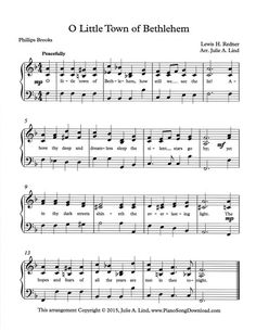 o little town of bethlehem free christmas piano sheet music to print from piano song - Free Christmas Piano Sheet Music