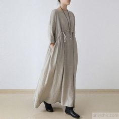 2017 autumn plus size linen dresses asymmetric bracelet sleeved drawstring maxi dressMost of our dresses are made of cotton linen fabric, soft and breathy. loose dresses to make you comfortable all the time.Flattering cut. Makes you look slimmer and matches easily.Custom make service available! Please feel free to contact us if you want this dress custom made. Materials used:linen Measurement: One size fits all for this item. Please make sure your size doesn't exceed this size: BUST-140c...
