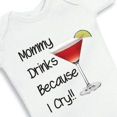 Mommy drinks personalized baby onesie by babyonesiesbynany on Etsy, $12.50
