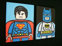 2 x Lego Superman Batman Hand Painted Pop Art Paintings on Canvas DC Comics | eBay