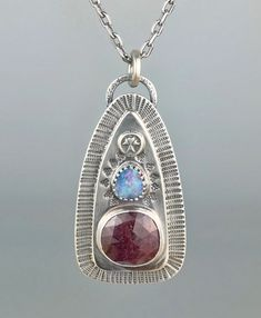 Ruby and Opal Stamped Necklace Artisan Jewelry, Handmade Jewelry, Metal Jewelry, Precious Metals, Opal, Pendant Necklace, Design, Handmade Jewellery