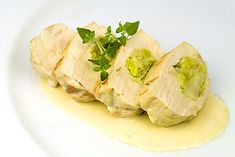 Leek Stuffed Chicken Breasts with a Creamy White Wine Sauce