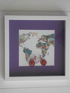 Quadro menina com mapa florido e bicicleta 3D.